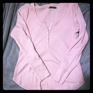 Pink Abercrombie thermal long sleeve shirt, XL
